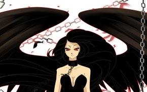 Картинка взгляд, лицо, аниме, цепи, красные глаза, падший ангел, черные крылья