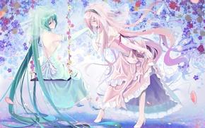Картинка улыбка, девушки, настроение, vocaloid, hatsune miku, megurine luka, вокалоид, art, поклон, okingjo