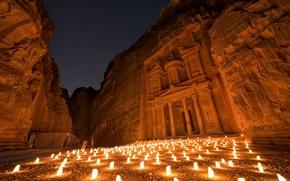 Картинка небо, звезды, ночь, огни, освещение, Петра, древний город, Иордания
