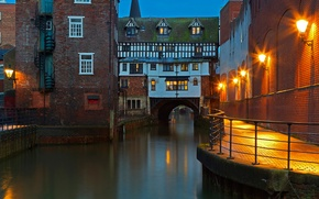 Картинка мост, Англия, дома, канал, Линкольн