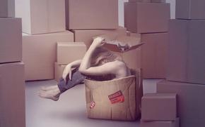 Картинка кот, девушка, коробка, печаль, картон, переезд, хрупкая