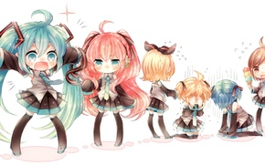 Картинка девушки, наушники, мороженое, парни, vocaloid, Hatsune Miku, Meiko, вокалоид, ленточки, Rin, Kaito, хвостики, Megurine Luka, …