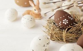 Картинка цветы, яйца, весна, Пасха, верба, spring, Easter, eggs, decoration, Happy, willow