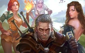 Картинка art, witcher, geralt, Triss Merigold, Gwynbleidd, CD Projekt RED, The Witcher 3: Wild Hunt, Wild …