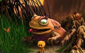 Обои жаба, природа, бабочка, котёнок