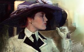 Картинка девушка, шляпа, арт, перчатки, Титаник, живопись, Titanic, Kate Winslet, Кейт Уинслет, Роза Дьюитт Бьюкейтер
