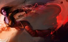 Картинка девушка, оружие, фантастика, красное, молнии, меч, арт, броня, взгляд. волосы