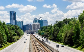 Картинка дорога, небо, деревья, city, город, небоскребы, USA, США, sky, trees, Georgia, highway, skyscrapers, Атланта, Atlanta, …