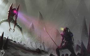 Картинка снег, горы, скалы, робот, меч, катана, самурай