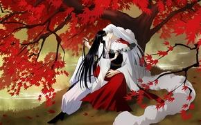 Картинка осень, листья, девушка, река, дерево, арт, парень