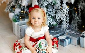 Картинка подарок, ребенок, платье, Girl, Рождество, Новый год, Christmas, dress, New Year, child, маленькая девочка