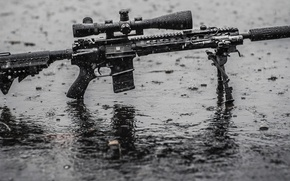 Картинка wet, rain, water, assault rifle, tripod, telescopic sight