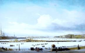 Картинка зима, небо, облака, снег, река, люди, берег, кони, картина, лошади, живопись, тройка, набережная, Боголюбов, катание …