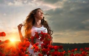 Обои woman, sunset, flower field