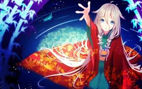 Картинка вода, девушка, аниме, арт, косички, кимоно, vocaloid, nekomaaro