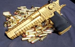 Обои золотой, Desert eagle, золотые патроны