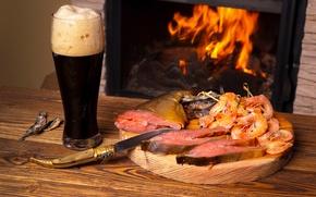 Обои shrimp, Fire, Drinks, креветки, морепродукты, Fish, рыба, камин, пиво, Beer