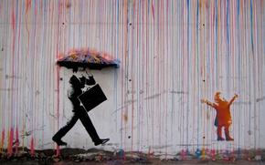 Картинка дождь, граффити, зонт, Норвегия, graffiti, rain, umbrella, Norway, CMYK, Skurtur Design, Trondheim, Svartlamoen, Тронхейм, стенная …