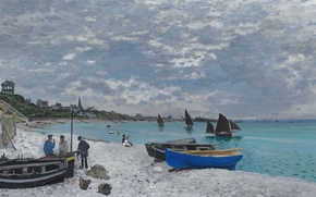 Обои Клод Моне, картина, лодка, Пляж в Сент-Адрессе, парус, пейзаж