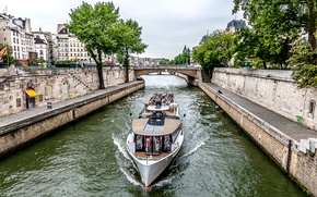 Картинка небо, деревья, мост, река, Франция, Париж, корабль, дома