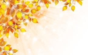 Картинка осень, листья, пузыри, веточка, блески