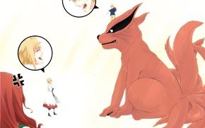 Обои аниме, семья, арт, девятихвостый, Наруто, Naruto, Naruto Uzumaki, Uzumaki Kushina, Namikaze Minato, Kyuubi, eri momo