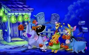 Картинка радость, ночь, огни, дом, конфеты, Halloween, Хэллоуин, друзья, Винни Пух