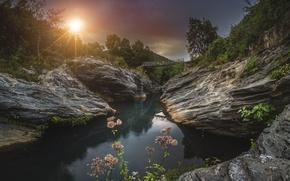 Картинка солнце, пейзаж, цветы, природа, скалы, водопад, обои от lolita777