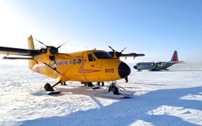 Картинка зима, небо, снег, самолет, лыжи