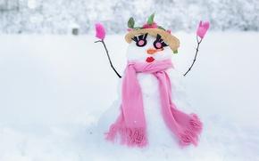 Картинка зима, белый, глаза, снег, ресницы, фон, розовый, праздник, новый год, рождество, шарф, снеговик, шляпка, губки, ...