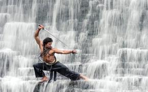 Картинка водопад, парень, сабля