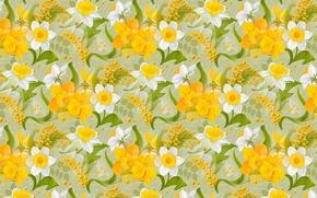 Обои нарциссы, 8 марта, мимоза, весна, текстура, праздник, цветы