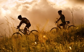 Картинка природа, спорт, велосипедисты, mountain bike, healthy lifestyle