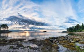 Картинка небо, облака, горы, озеро, Canada, British Columbia, канада, Galiano Island, дерпевья