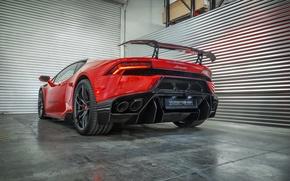 Картинка машина, свет, красный, Lamborghini, Vorsteiner, задок, Huracan, Novara, стоп-сигнал