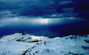 Обои снег, обоя, горы, зима