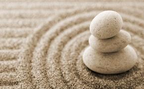 Обои песок, минимализм, Камни