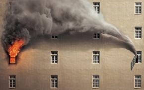Картинка дом, пожар, окно, чудо