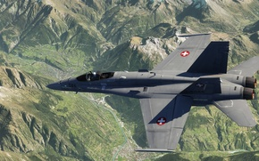 Картинка рендеринг, ландшафт, истребитель, многоцелевой, Hornet