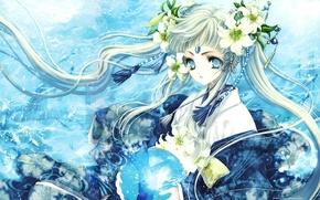 Картинка вода, рыбы, лилии, Девушка, арт, сфера, Tohru Adumi