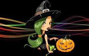Картинка линии, шляпа, тыква, ведьма, черный фон, сидит, зеленые волосы, Happy Halloween, witch, светильник джека