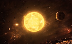 Картинка космос, звезда, планеты, астероиды рельеф