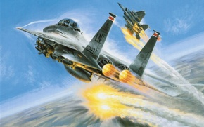 Картинка war, art, painting, aviation, McDonnell Douglas F-15 Eagle, jet, air combat