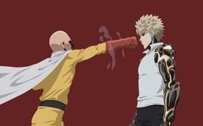 Картинка red, game, minimalism, anime, power, man, punch, blonde, hero, asian, martial artist, manga, cyborg, japanese, …