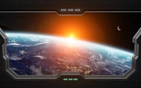 Обои light, window spaceship, Sci FI, star, planet