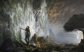 Картинка девушка, камни, дерево, сюрреализм, водопад, арт, Michal Matczak
