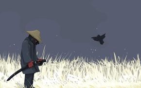 Картинка птица, вектор, воин, Меч