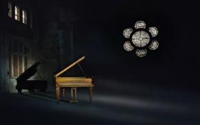Картинка свет, музыка, тень, пианино