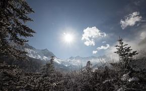 Картинка солнце, снег, горы, Китай, провинция Сычуань