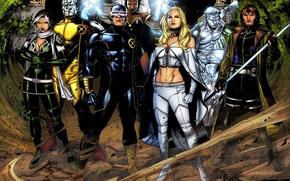 Картинка X-Men, Storm, Rogue, Emma Frost, Cyclops, Colossus, Iceman, Gambit